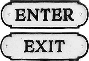 AuldHome Enter/Exit Door Signs (Set of 2); Cast Iron Farmhouse Style Signs for Home and Business