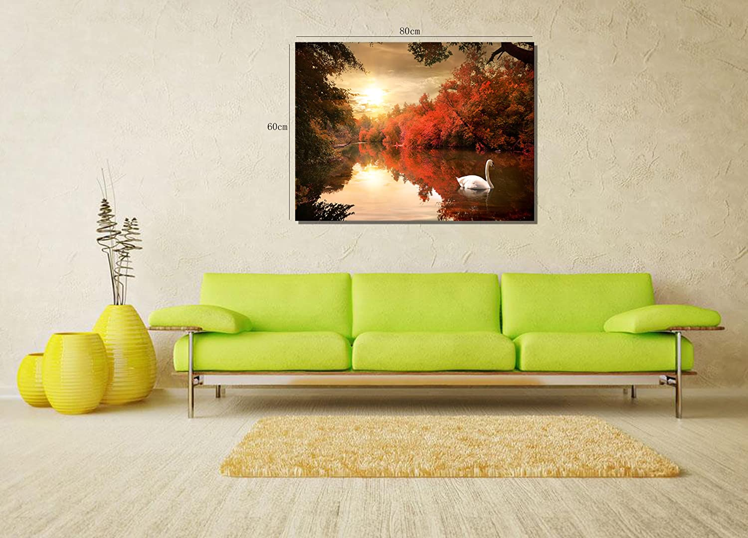 Amazon.com: 789Art - Canvas Wall Art Wall Decor A Swan On The River ...