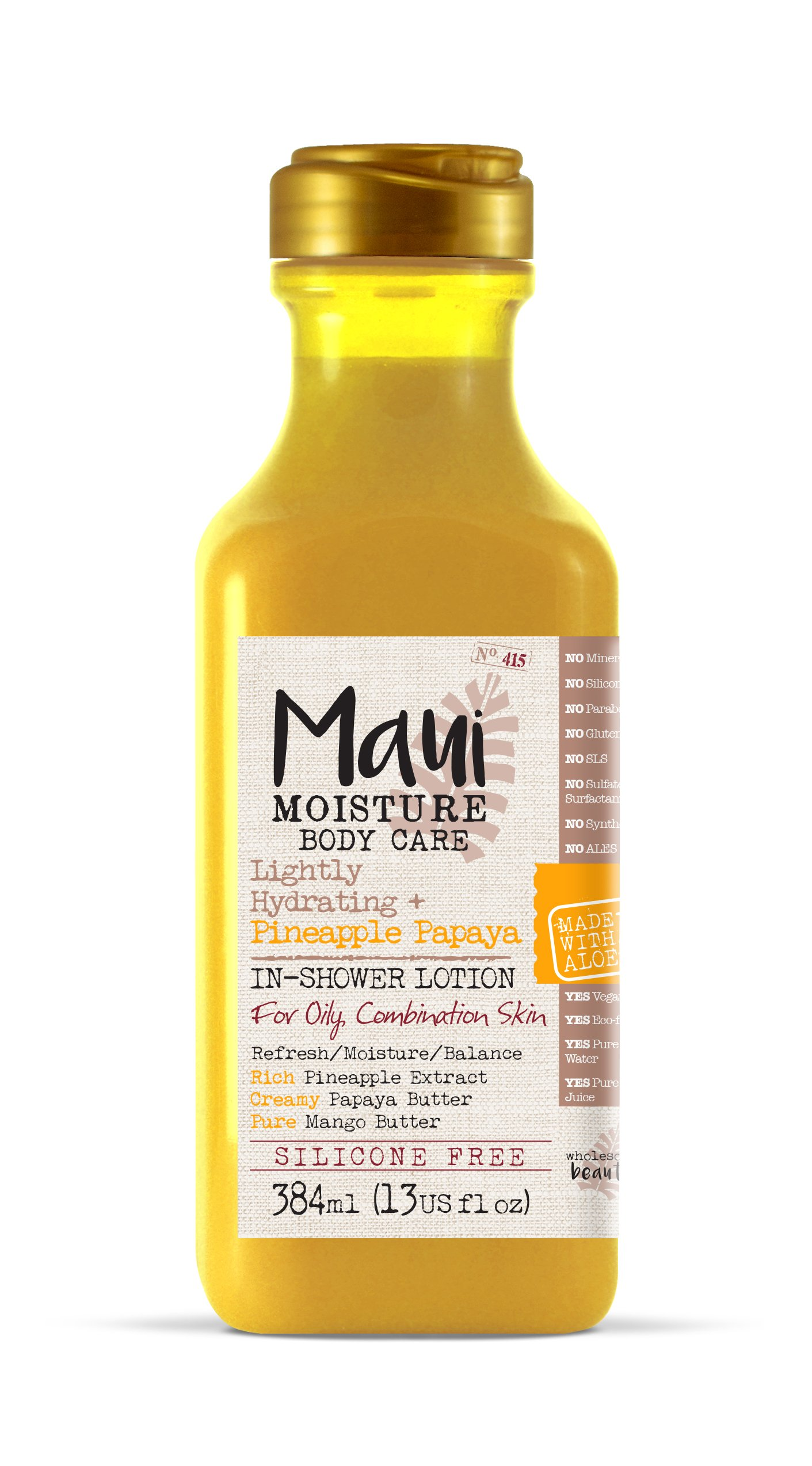 Maui Moisture Pineapple Papaya Creamy In-shower Body Lotion 13 Ounce Moisturizing Body In-Shower Body Lotion for Oily Skin Normal Skin Combination Skin, with Aloe Vera, Silicone Free by OGX