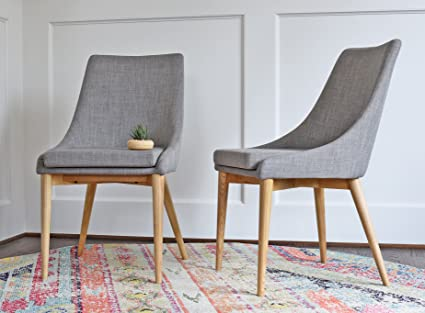 Amazon Edloe Finch Modern Dining Chairs Mid Century Dining Magnificent Grey Fabric Dining Room Chairs