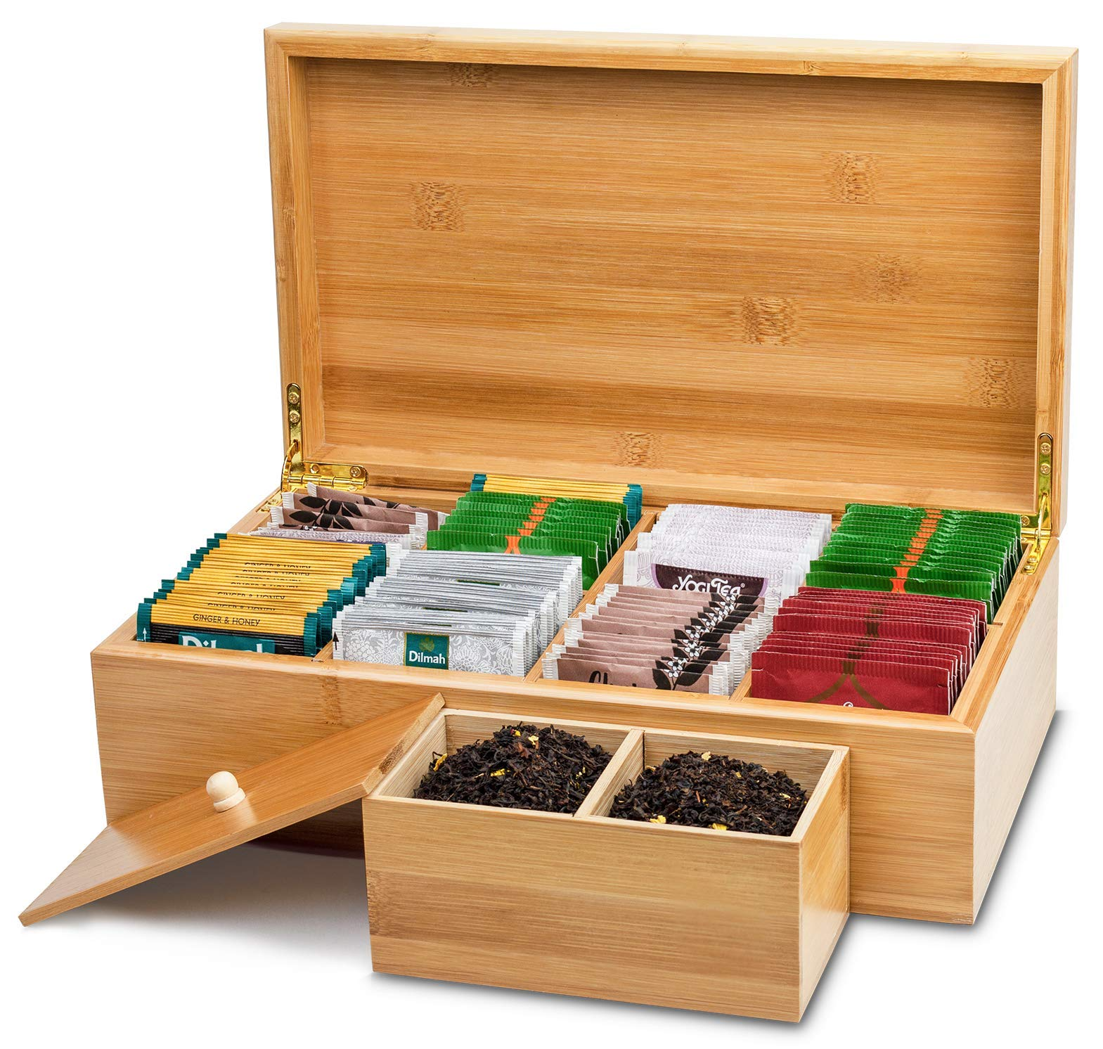 Lyevon Tea Storage Organizer Bamboo Chest Box with 8 Adjustable Compartments for Assorted Tea Bags or Spices -holds 125 Tea Bags by Lyevon (Image #3)