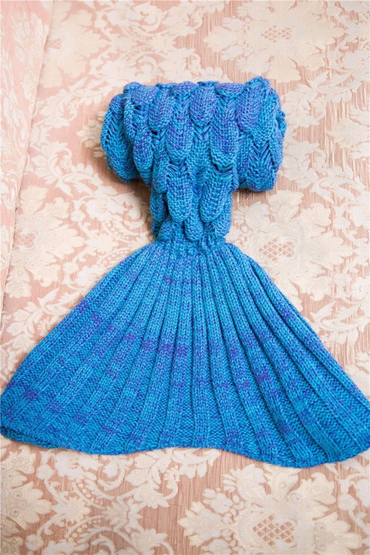 Azul Disfrutando de dormir y no coger fr/ío RGTOPONE chicas suave tejer Manta de cola de sirena hecho a mano calentar todas las temporadas Colchoneta de punto Acurrucarse en la cama Sof/á del traje para los cabritos