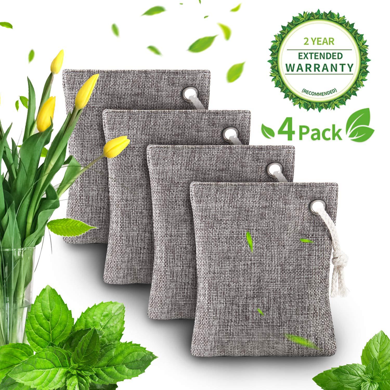 Bealatt Air Purifying Bag(4 Pack), 200g Activated Bamboo Charcoal Bags, Nature Fresh Air Purifier Bag, Natural Air Freshener Bags, Charcoal Bags Odor Eliminator for Home, Cars, Closet, Basement, Shoes