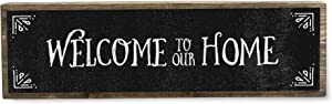 ANVEVO Welcome to Our Home - Metal Wood Sign Dark - Rustic Farmhouse Decor - Rustic Wall Art - Home Decor Clearance - Modern Home Decor