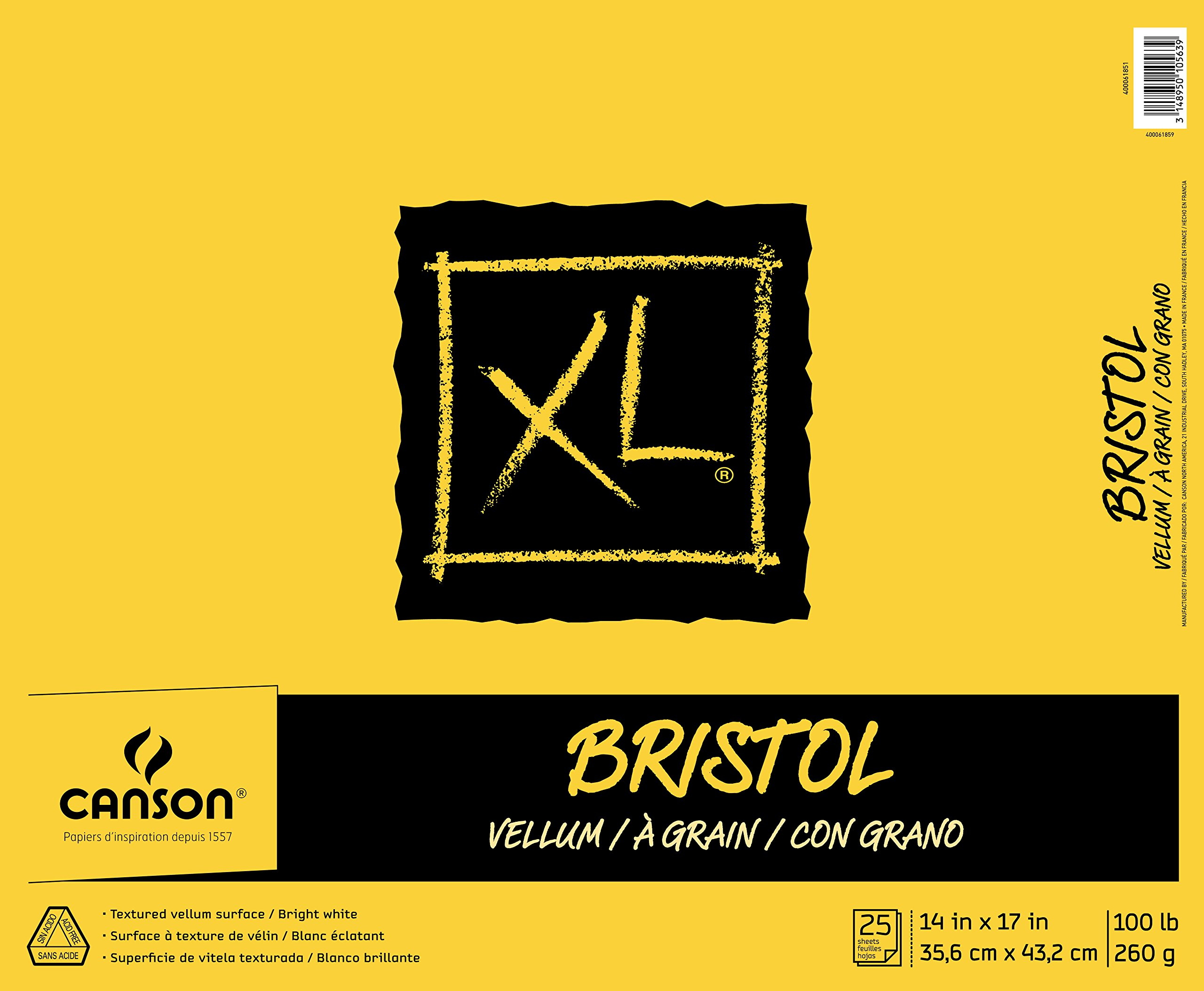 Canson XL Series Bristol Vellum Paper Pad, Heavyweight Paper for Pencil, Vellum Finish, Fold Over, 100 Pound, 14 x 17 Inch, Bright White, 25 Sheets by Canson