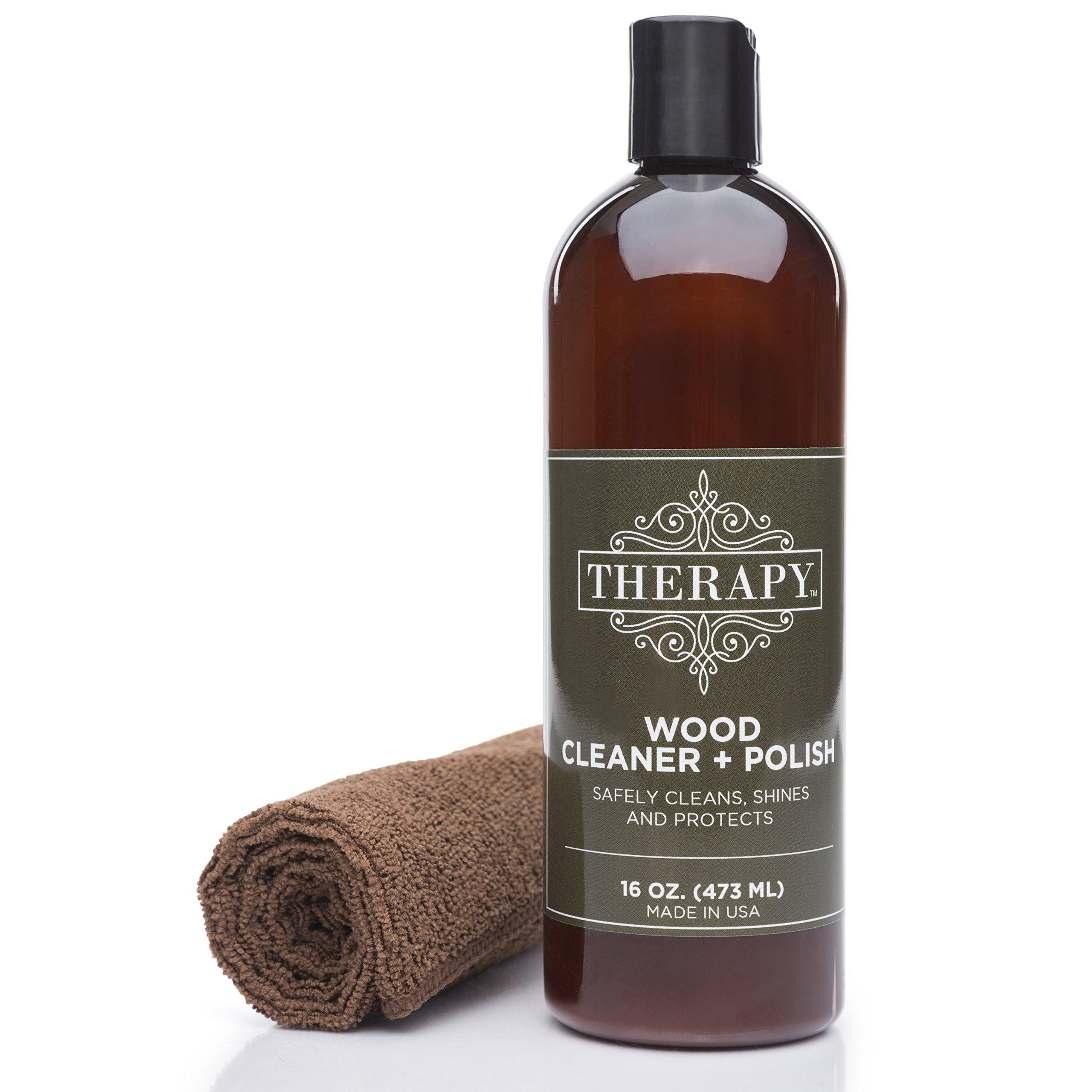 Therapy Wood Cleaner and Polish Kit with Large Microfiber Cloth, 16 fl. oz. - Best Used as Furniture, Wood Table Cleaner, Cabinet Restorer, Conditioner, Polish Spray by Therapy