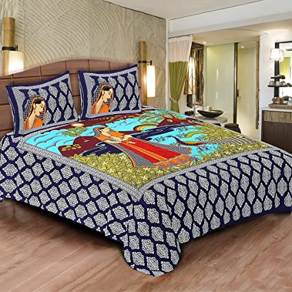 Jaipuri Chadaar Rajasthani Print Double Size Cotton Bedsheet with 2 Pillow Covers (King Size, Multicolour)