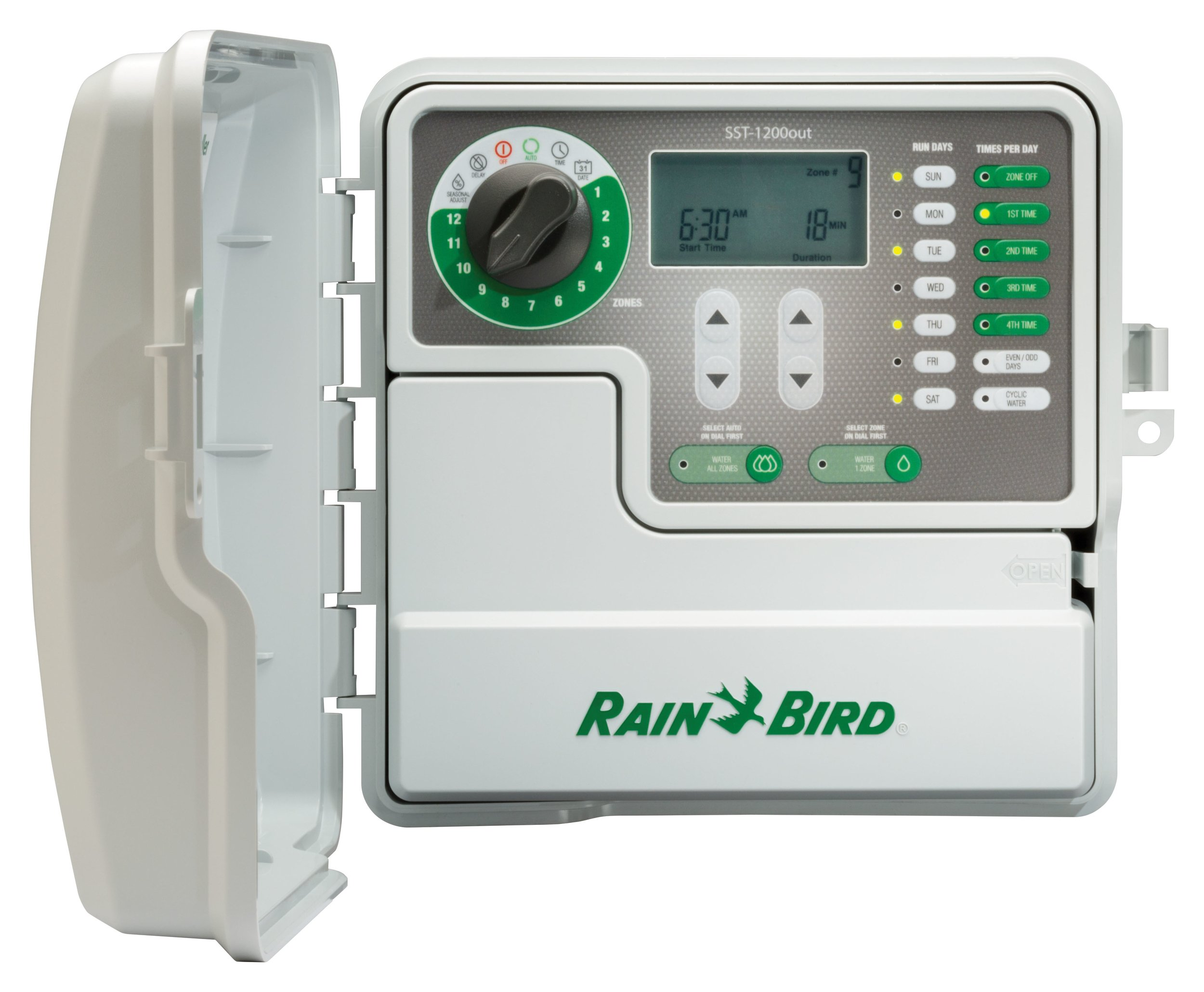 Rain Bird SST1200OUT Simple-To-Set Indoor/Outdoor Sprinkler/Irrigation Timer/Controller, 12-Zone/Station (this new/improved model replaces SST1200O)
