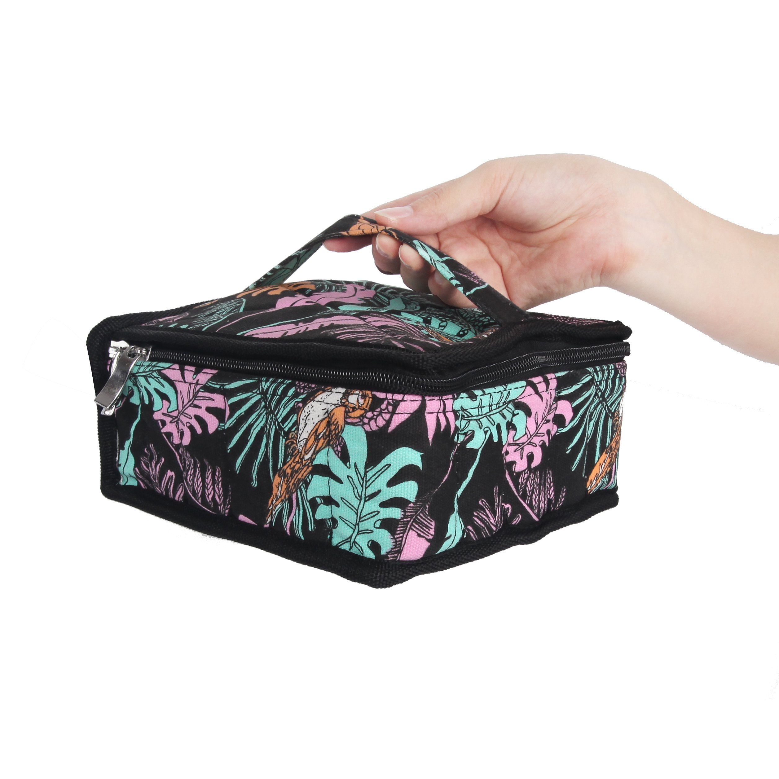 Essential Oils Storage - pureGLO 30 Bottle Essential Oil Carrying Case - Essential Oil Organizer Bag Travel Carrier Holds 5ml, 10ml, 15ml Vials - Holder for Young Living & Doterra Containers Floral