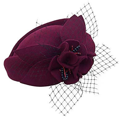 Lawliet Women Fascinator Pillbox Felt Wool Hat Formal Dress Flower Veil ( Wine)(Size bb479fe3a4f