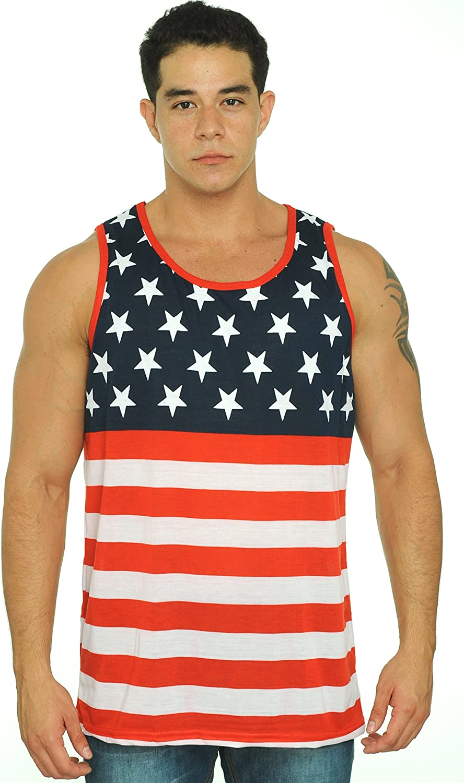 Exist Men's USA Flag Tank Top America Stars & Stripes