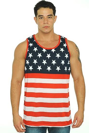 bac53679eb31aa Amazon.com  Exist Men s USA Flag Tank Top America Stars   Stripes ...