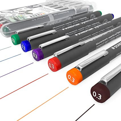 Staedtler 308 Pigment Liner – Rotulador de – 0,3 mm – Estuche de 6), varios colores: Amazon.es: Oficina y papelería