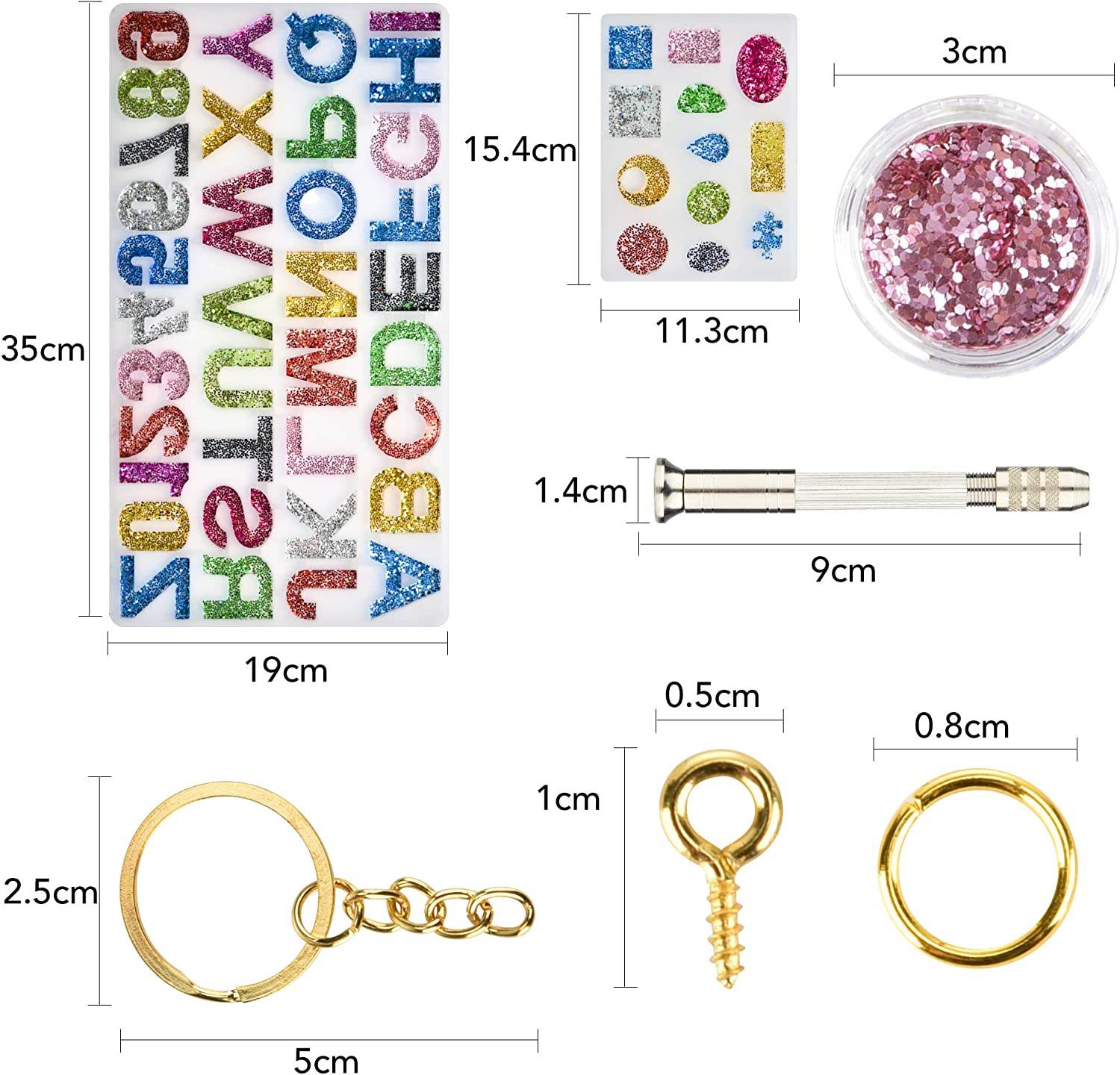 House Number Key Chain Jewelry Craft Making Set Letter Number Resin Mold Tool for Making Jewelry Silicone Resin Molds 237Pcs DIY Alphabet Resin Casting Mold Kit