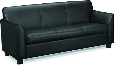 HON Circulate Tailored Three-Cushion Sofa , Black SofThread Leather