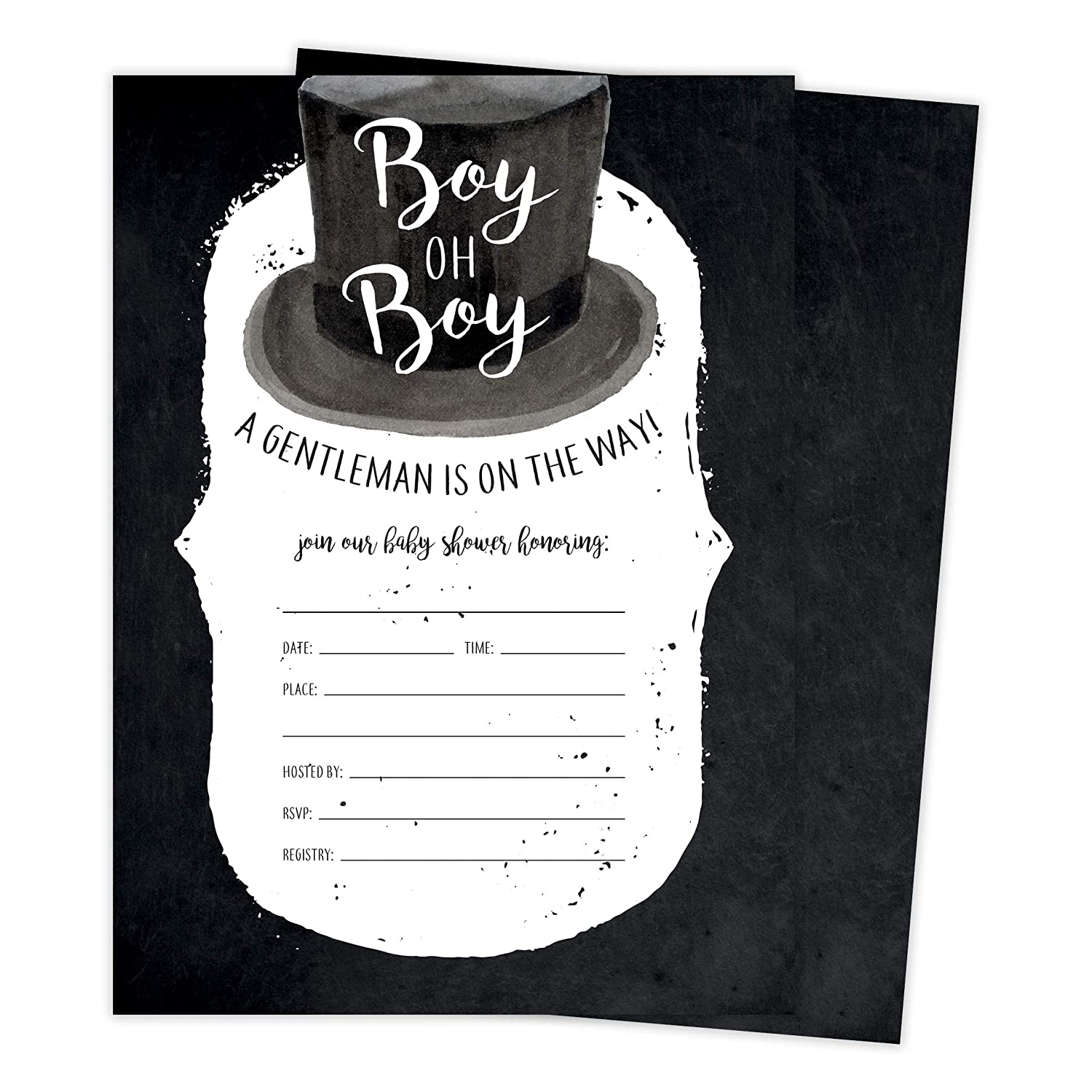 Generic Boy 2 Baby Shower Invitations Invite Cards 25 Count With Envelopes Seal Stickers Vinyl Boy