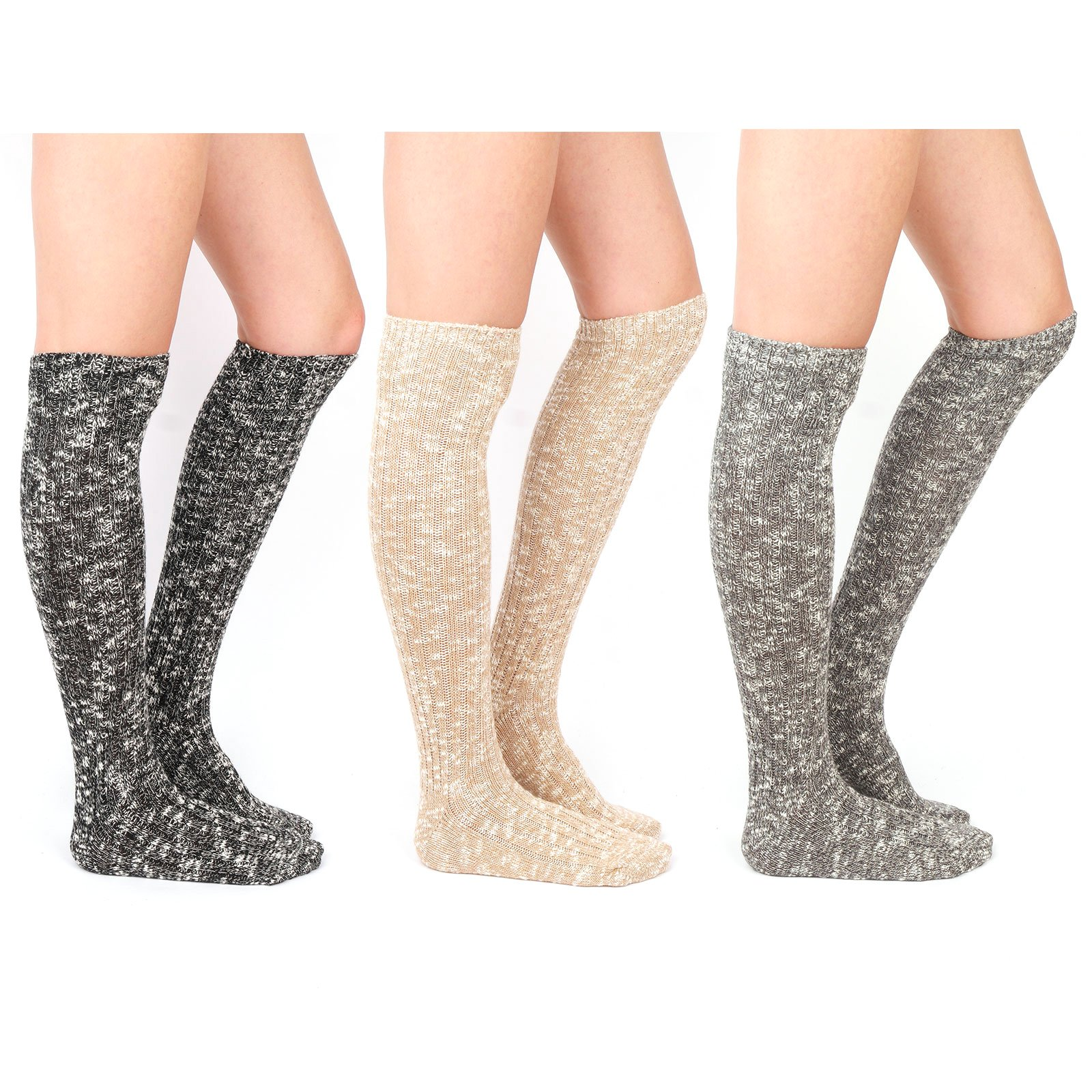 WOWFOOT Women's Knee High Wool Socks Soft Warm Thick Thermal Girl Winter Cushion Crew Quarter (A-Muti Pack 3pairs(Black,Gray,Light-Brown))