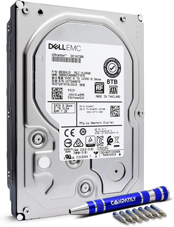HGST 8TB SATA III 3.5-inch Internal Hard Disk Drive | Ultrastar DC HC320 HUS728T8TALE6L0 | Bundle with Compatily Screwdriver Compatible with Desktop Computers, Workstation PC, Mac, NAS & CCTV DVR