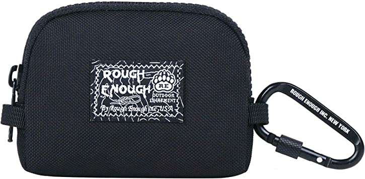 Rough Enough Car Key FOB Holder Credit Card Holder Wallet Case Coin Purse Pouch for Women Men Earbuds Case EDC Gear Wallet Pouch Change Purse Coin Holder Pouch with Zipper Carabiner in Round Cool Cute