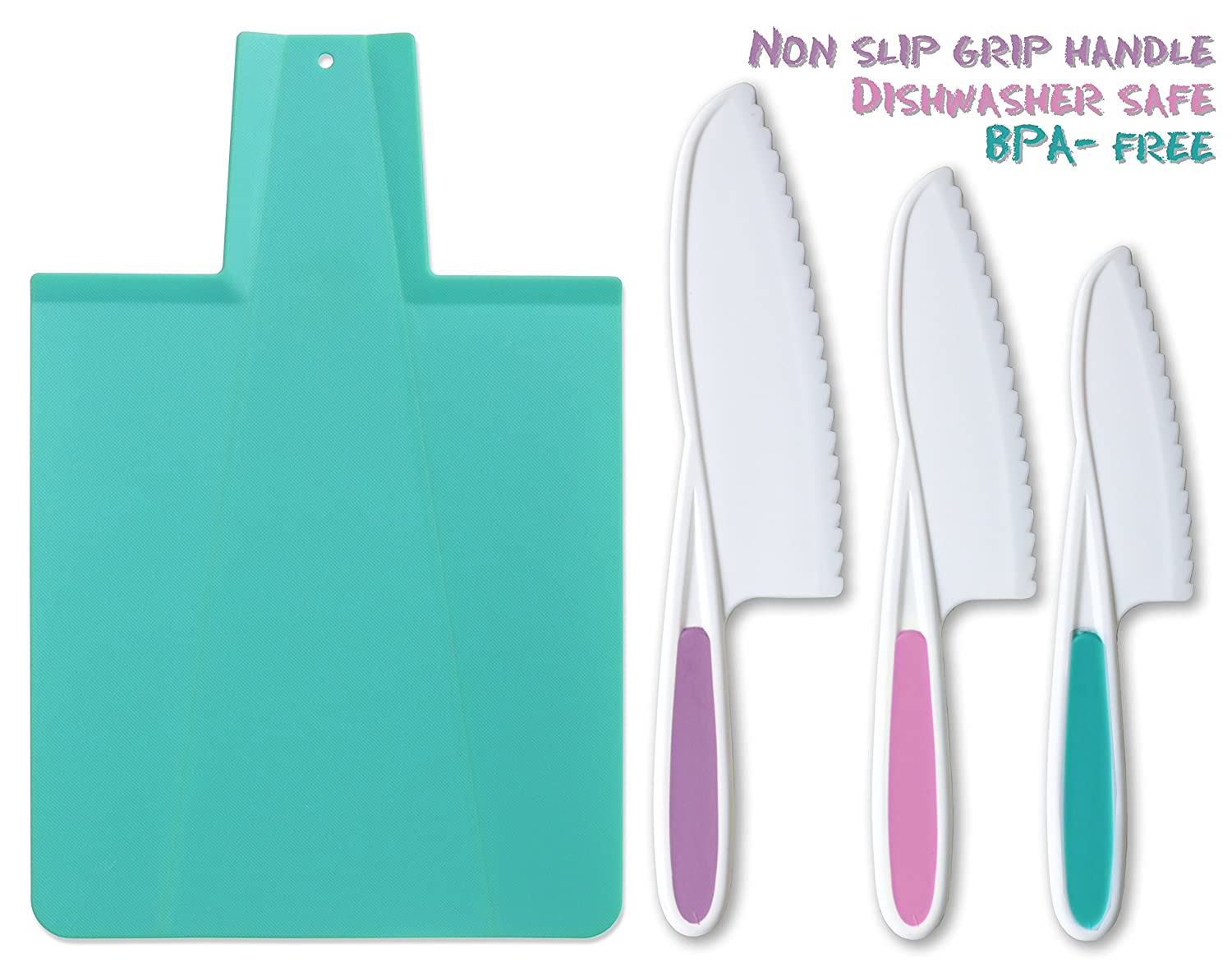 Tovla & Co. Kids Kitchen Knife and Foldable Cutting Board Set: Children's Cooking Knives in 3 Sizes & Colors/Firm Grip, Serrated Edges, BPA-Free Kids' Knives/Safe Lettuce and Salad Knives