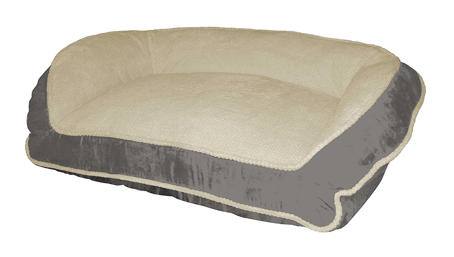 Paws Claws Micro Suede Couch Style Bolster Pet Bed, 40-Inch by 25-Inch, Charcoal