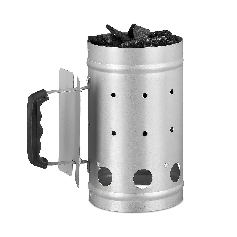 27 x 16 cm Relaxdays 10022312  Chemin/ée d/'allumage charbon en acier allume feu chemin/ée barbecue grill HxD argent grill starter