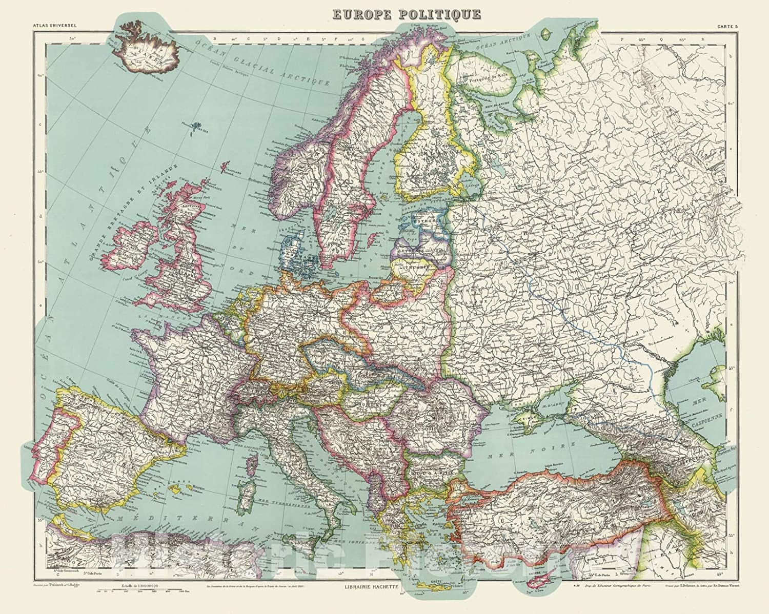 Map Of Europe 1936 Amazon.com: Historic Map   1936 Europe Politique.   Vintage Wall