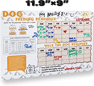 FLO PET Did You Feed The Dog? Feeding Reminder Refrigerator Magnet,Magnetic Dry Erase Sheet for Fridge,Daily Feeding Guidelines with Daily Indication Chart to Feed Your Puppy Adult Dog Cat.