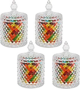 Hedume 4 Pack Crystal Candy Jar with Lid, Glass Food Storage Organization Set Suitable as Candy Dish, Cookie Tin, Food Storage and Organization (Diameter 3.3 Inch)