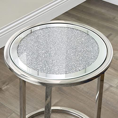 Mirrored Coffee Side End Table Stainless Steel Frame Side Table Round Occasional Stand Tea Table