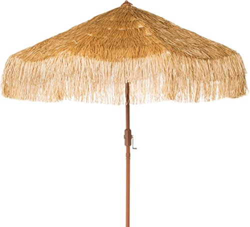 Safavieh PAT8012A Outdoor Collection Tiki Tan 9-Foot Crank Auto Tilt UV Protected Umbrella
