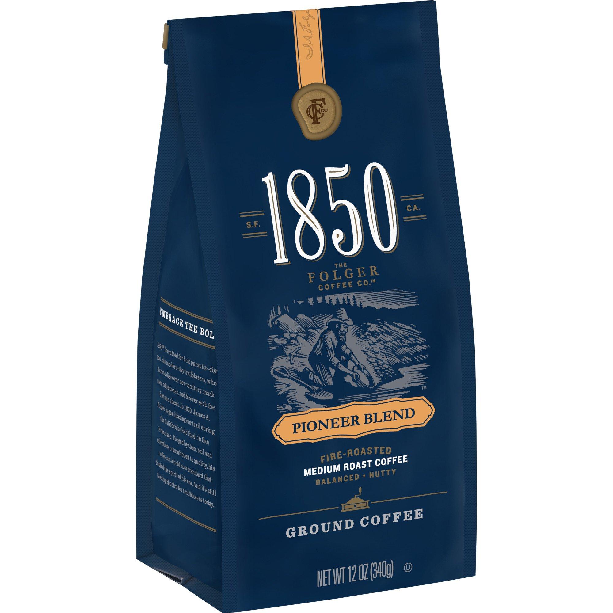 1850 Pioneer Blend, Medium Roast Ground Coffee, 12 Ounces (Pack of 6)