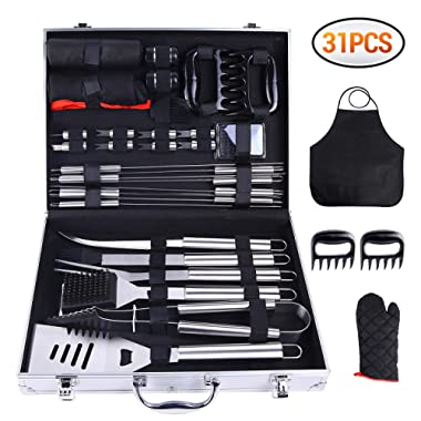 Ohuhu 31-Piece BBQ Tool Set, Grill Accessories Heavy Duty Stainless Steel, Barbecue Grill Utensils Set with Aluminium Case, Grilling Tools with Barbecue Claws Perfect BBQ Gift Set for Men Dad Women