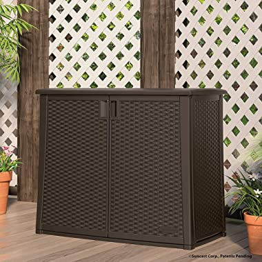 Suncast Elements Outdoor Wide Cabinet - 40  Wide Resin Constructed Patio Furniture Ideal for Decks and Balconies - Contemporary Wicker Design for Outdoor Storage with 97 Gallon Capacity - Brown