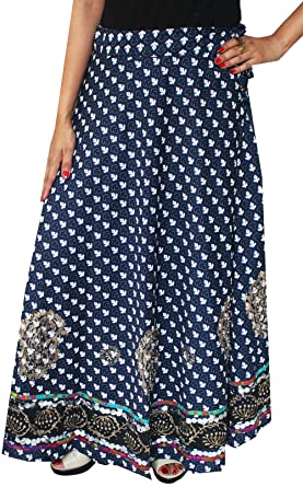 a98cff085 Maple Clothing Womens Long Indian Skirt Cotton Block Printed Ethnic India  Clothes (Blue) at Amazon Women's Clothing store: