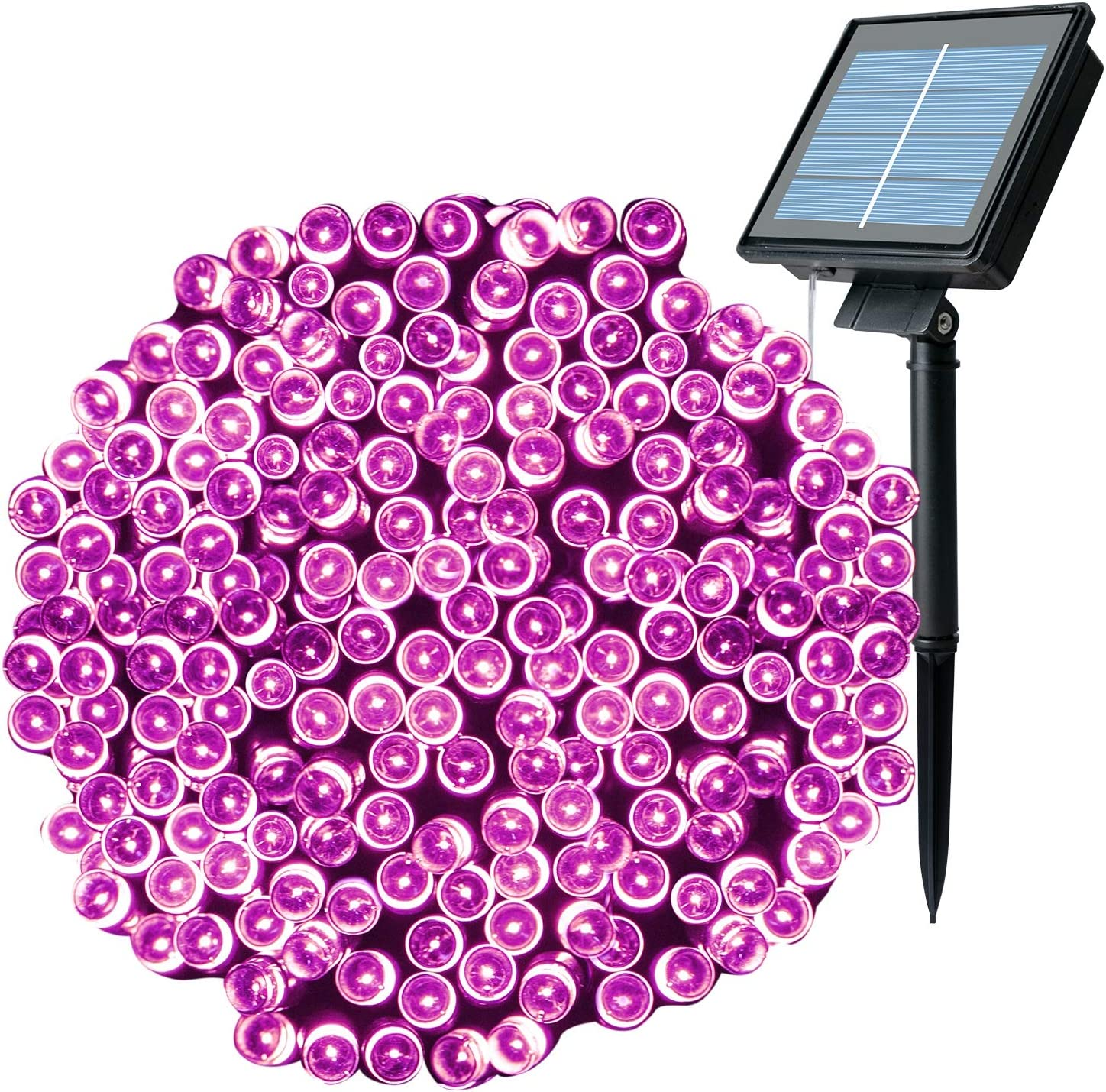 Outdoor Solar Christmas String Lights with 8 Lighting Modes, 72 Feet 200LED Waterproof Solar Powered Lights for Indoor Outside Xmas Patio Garden Yard Wedding Party Tent Tree Decor, Purple, 1 Pack