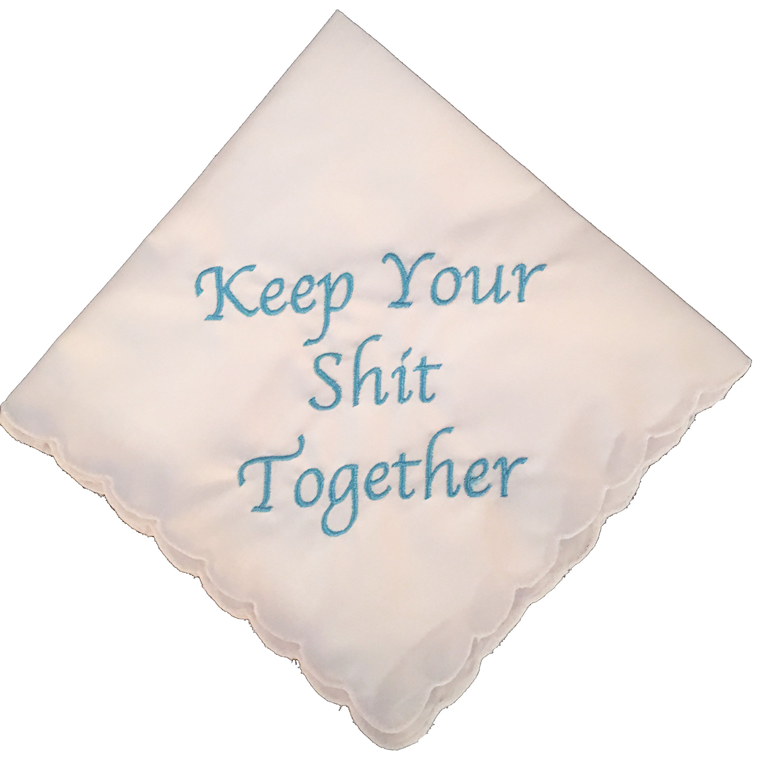f749878ff9ae Amazon.com  Keep Your Shit Together Wedding Handkerchief in Blue- Something  Blue Bridal Keepsake  Home   Kitchen