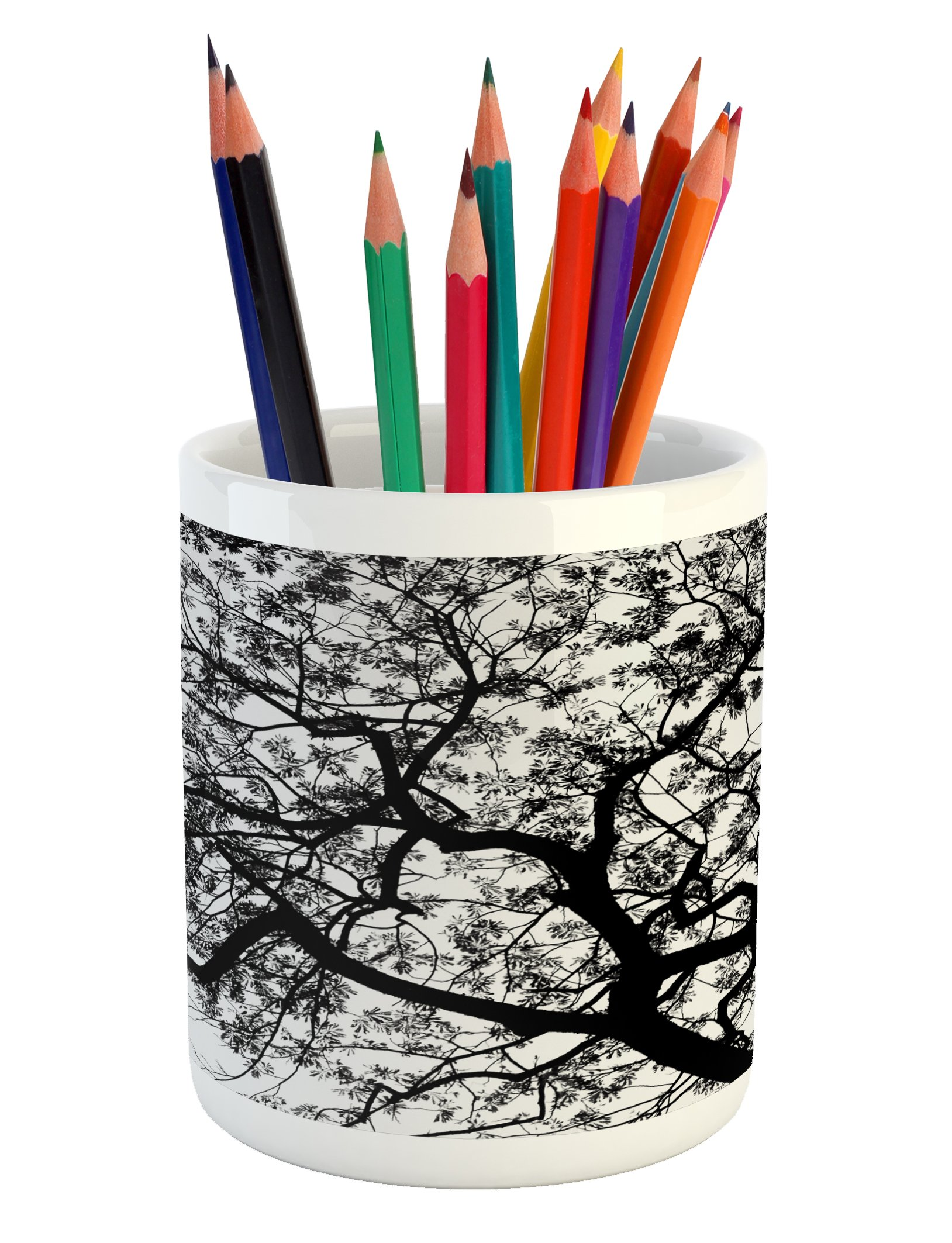 Ambesonne Forest Pencil Pen Holder, Forest Tree Branches Modern Design Spooky Horror Movie Themed Artwork Print, Printed Ceramic Pencil Pen Holder for Desk Office Accessory, Black and White