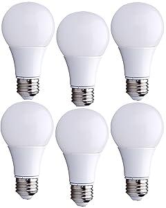 Bioluz LED 40 Watt LED Light Bulbs, 40W A19 Bulbs Use only 6 Watts, Warm White 2700K Non-Dimmable A19 LED Light Bulbs 6-Pack