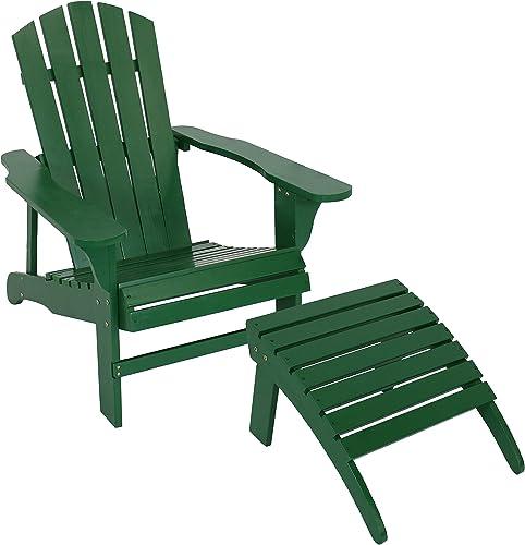 Sunnydaze Classic Wooden Adirondack Chair and Ottoman Set