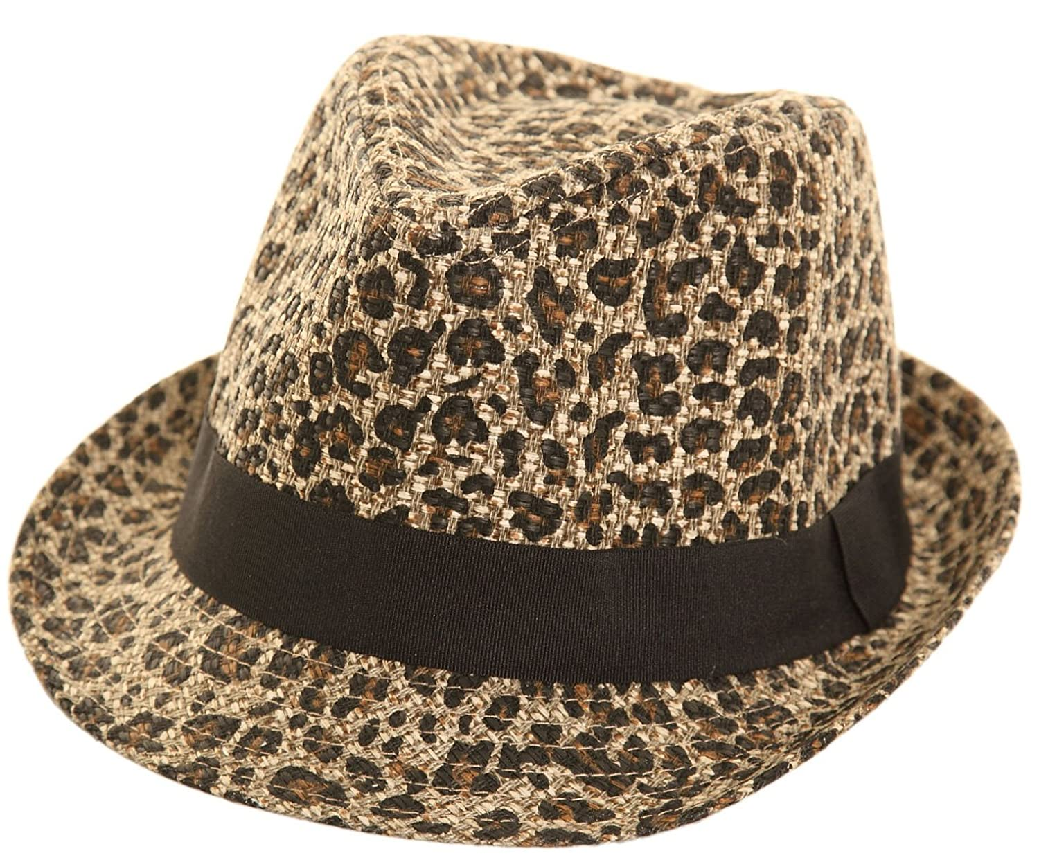 Elegant Womens Leopard Print Straw Trilby Hat with Indented Crown ... 83882b19695