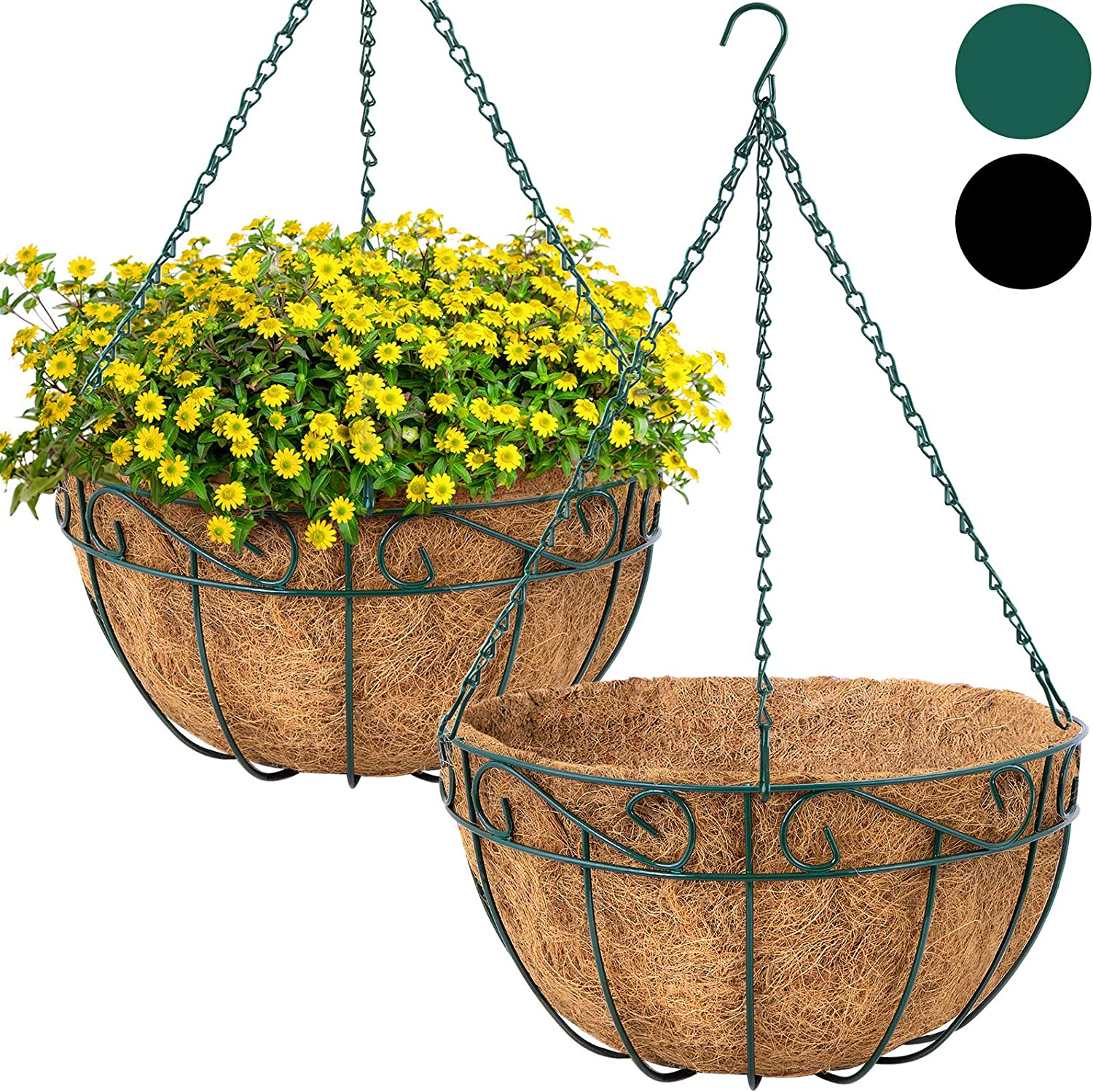 Amagabeli 4 Pack Hanging Plant Planter Baskets 12 Inch with Coco Coir Liner Round Metal Wire Plant Holder with Chain Porch Decor Flower Pots Hanger Garden Decoration Indoor Outdoor Green