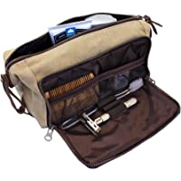 DOPP Kit Mens Toiletry Travel Bag YKK Zipper Canvas & Leather (Medium, Khaki - 3 days shipping)
