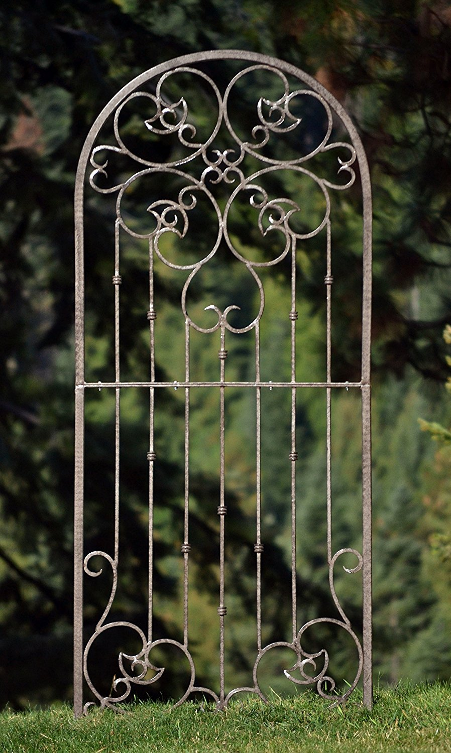 H Potter Large Garden Trellis Wrought Iron Heavy Scroll Metal Decoration Powder Coat Finish-Lawn, Patio & Wall Decor Screen for Rose, Clematis, Ivy Weather Resistant Patio Deck Wall Art Model GAR545 by H Potter