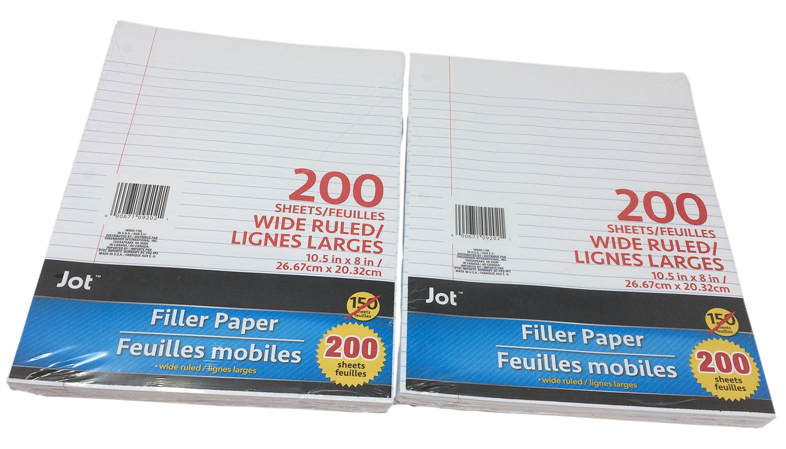 Jot Loose-Leaf Ruled Filler Notebook Paper, 400 Sheets (Wide Ruled)