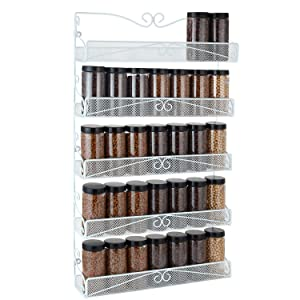 Spice Rack,Hanging Wall Mounted Spice Rack Organizer Shelf for Pantry Kitchen Cabinet Door 5-Tier, White