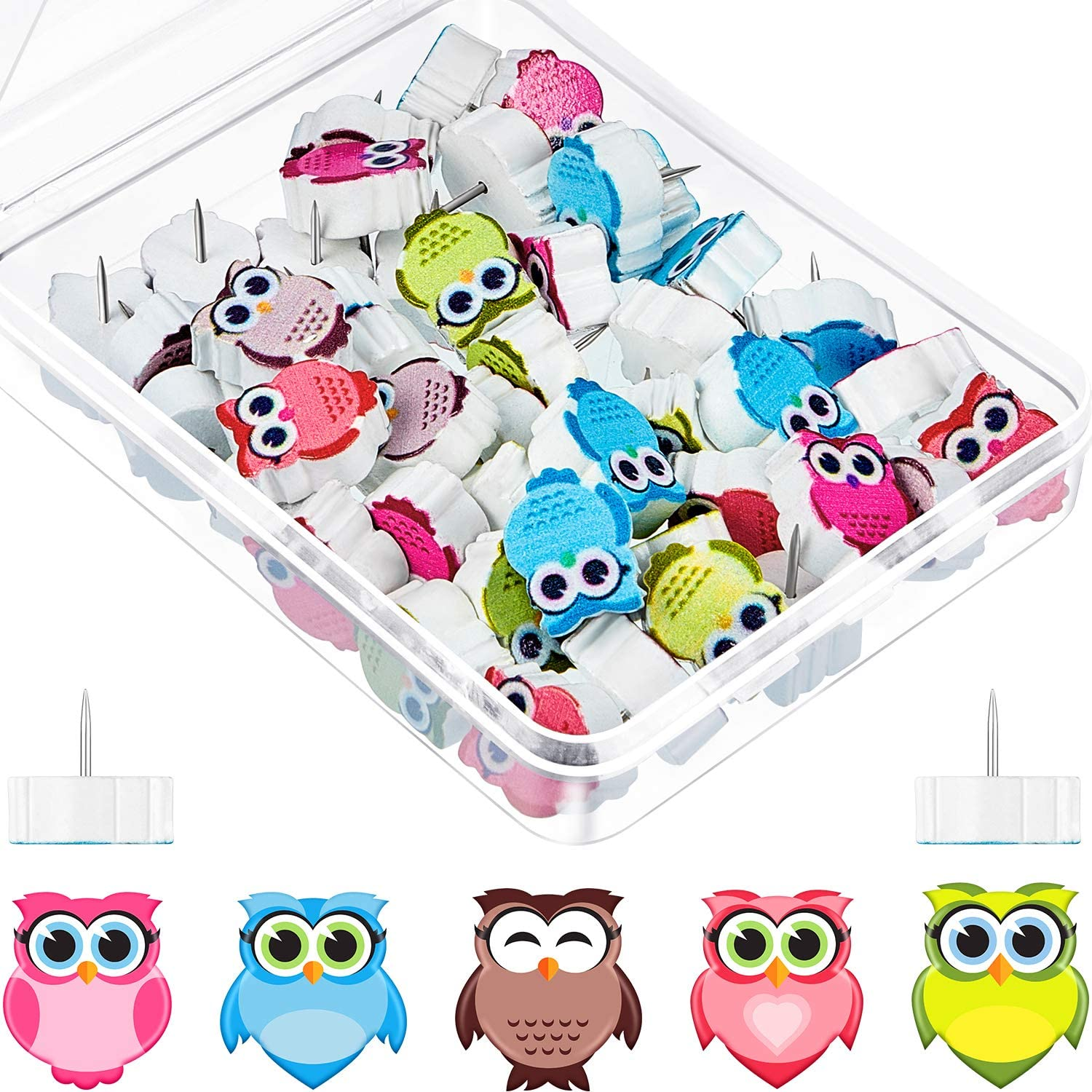50 Pieces Owl Push Pins Decorative Owl Thumbtacks Cork Board Tacks Bulletin Board Tacks for Home or Office Whiteboard, Photo Wall Map Bulletin Board, Back to School Supplies (Assorted Color)