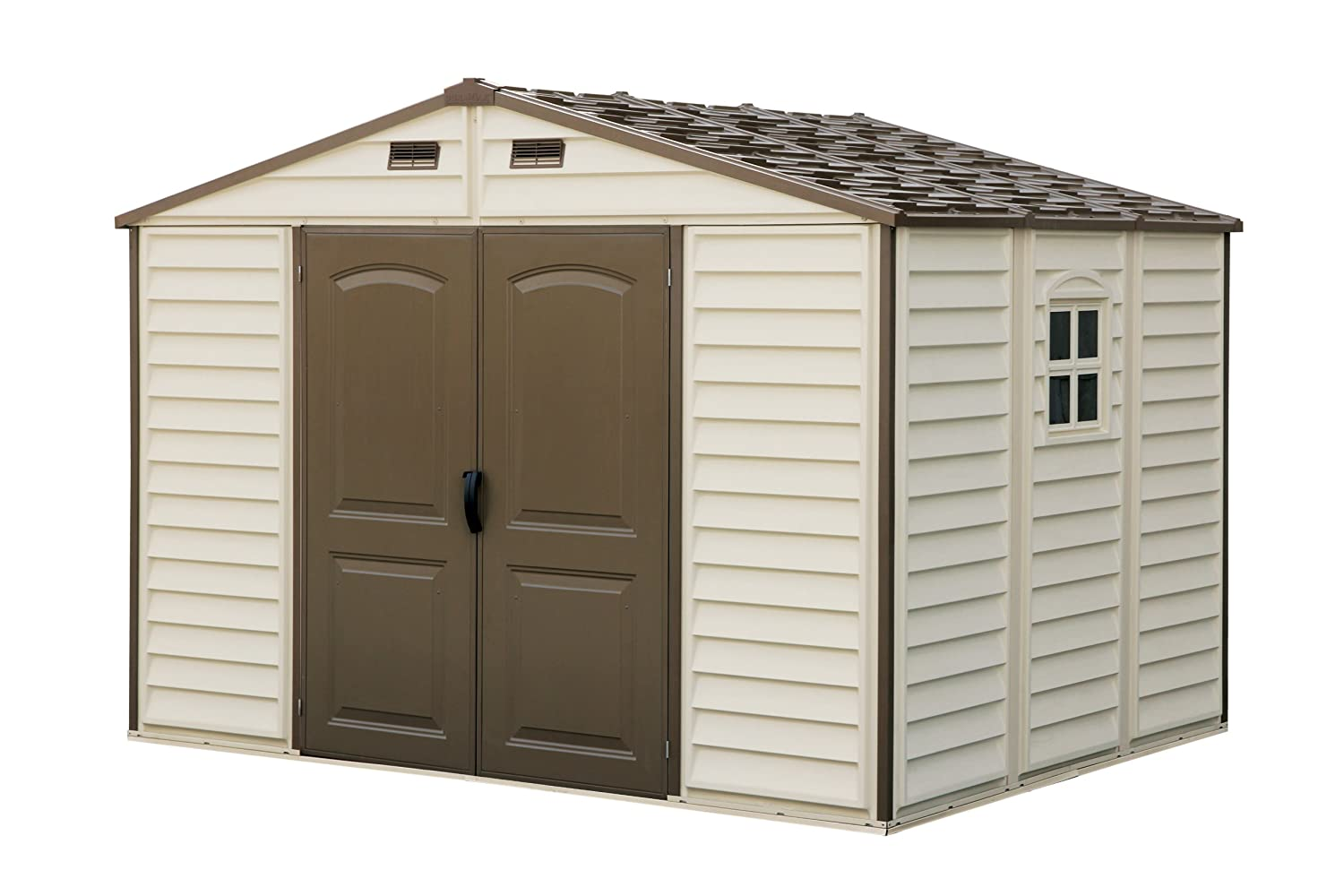 Woodside 10 x 8 vinyl storage shed with foundation and three fixed window amazon co uk garden outdoors