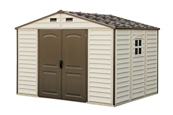 Duramax Woodside 10 x 8 Vinyl Storage shed with Foundation and three fixed window  sc 1 st  Amazon UK & Duramax Woodside 10 x 8 Vinyl Storage shed with Foundation and three ...