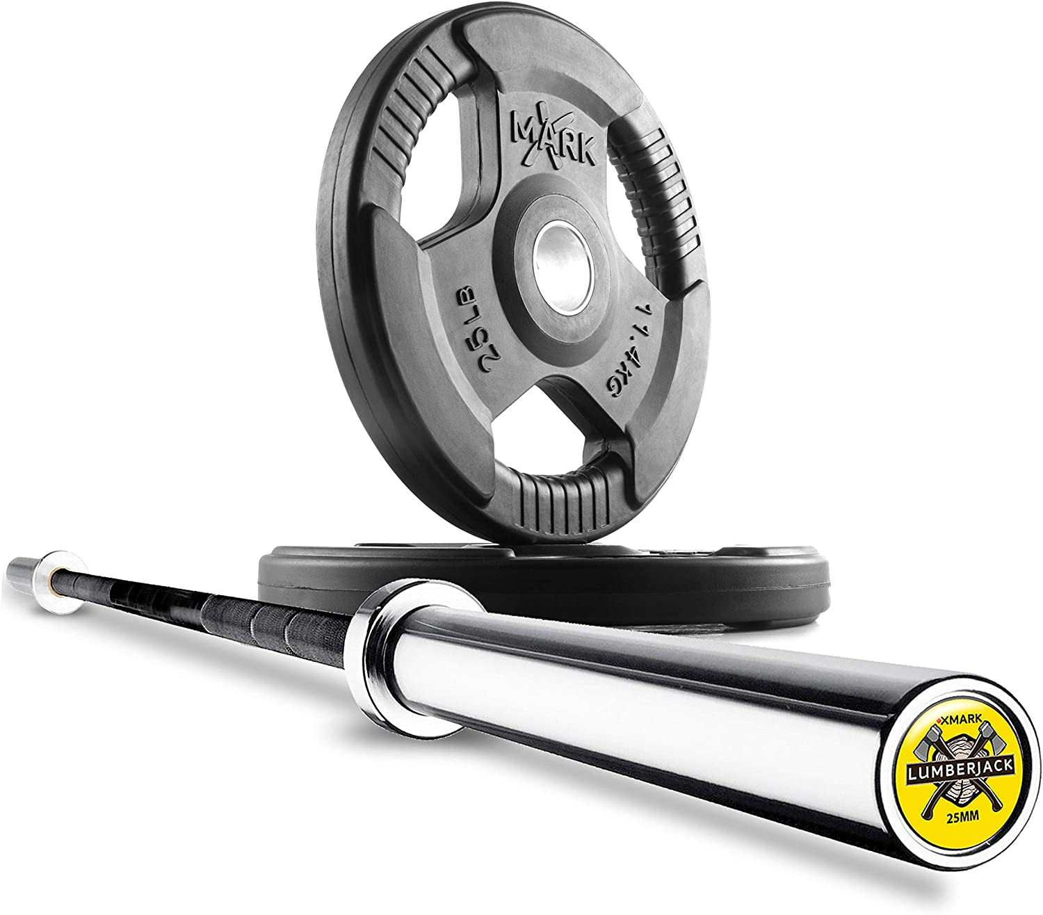 XMark Olympic Bar with Weights Offer, Olympic Weights Pair or Set of TRI-Grip Olympic Weight Plates, Premium Quality, Rubber Coated XM-3377 with Olympic Barbell, 7 ft with 25mm Grip LUMBERJACK-25MM